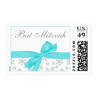Silver Snowflakes Teal Bow Bat Mitzvah Postage Stamps