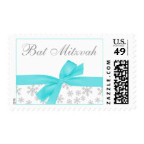Silver Snowflakes Teal Bow Bat Mitzvah Postage Stamp