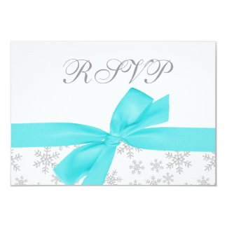 Silver Snowflakes Teal Bow RSVP Card
