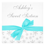 Silver Snowflakes Teal Bow Sweet 16 Invitations Invitations
