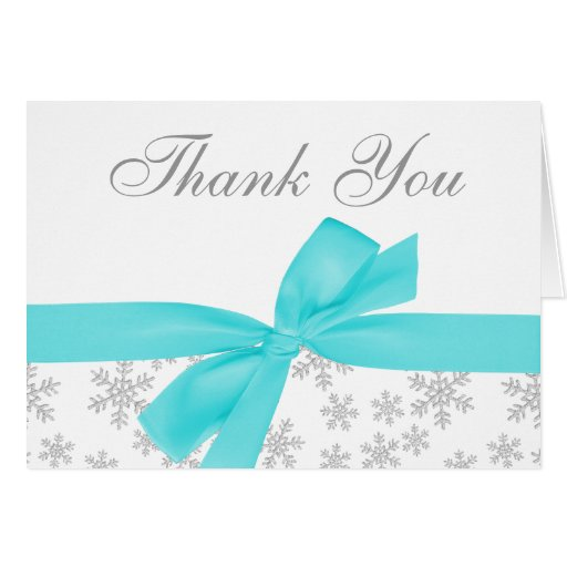 Silver Snowflakes Teal Bow Thank You Stationery Note Card