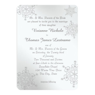 Silver Snowflakes Wedding Card