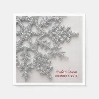 Silver Snowflakes Wedding Paper Napkins
