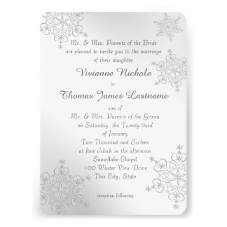Silver Snowflakes Wedding Personalized Invitation