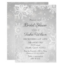 Silver Snowflakes Winter Bridal Shower Card