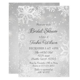 Winter bridal shower invitations zazzle silver snowflakes winter bridal shower invitation filmwisefo