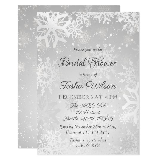 silver snowflakes winter bridal shower invitation