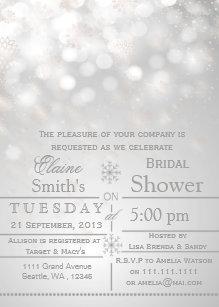 silver snowflakes winter bridal shower invite