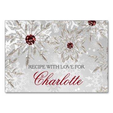 silver snowflakes winter bridal shower recipe card