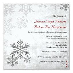 Silver Snowflakes Winter Wedding Invitation