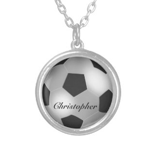 Silver Soccer ball customizable name Round Pendant Necklace