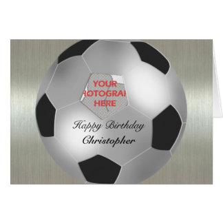 Silver Soccer ball customizable photo frame Greeting Card