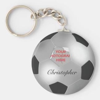 Silver Soccer Ball Customizable Photo Frame Keychain