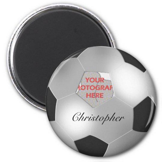 Silver Soccer ball customizable photo frame Magnet