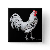 Silver Spangled Hamburg Chicken Pin