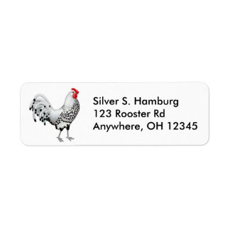 Silver Spangled Hamburg Rooster Label