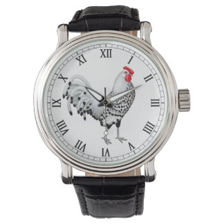 Silver Spangled Hamburg Rooster Watch