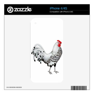 Silver Spangled Hamburg Rooster Zazzle Skin Decal For The iPhone 4S