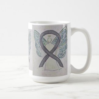 Silver Sparkle Awareness Ribbon Angel Art Mug