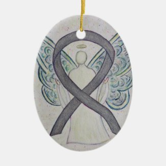 Silver Sparkle Awareness Ribbon Angel Ornament