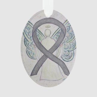 Silver Sparkle Awareness Ribbon Angel Ornament