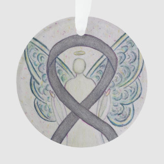 Silver Sparkle Awareness Ribbon Angel Ornaments