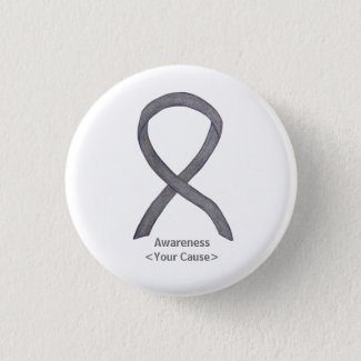 Silver Sparkle Awareness Ribbon Custom Art Pins