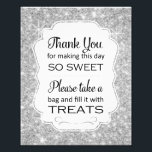 "Silver Sparkle Candy Buffet Bridal Shower Sign<br><div class=""desc"">This silver sparkly candy buffet sign will be the perfect compliment to the candy bar at your wedding, birthday, bridal shower or baby shower. It features a silver sparkle background with a frame cutout with the phrase &quot;Thank you for making this day so sweet Please take a bag and fill...</div>"