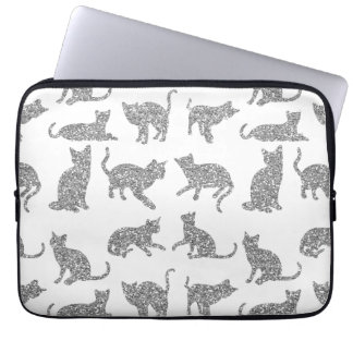 Silver Sparkle Cats White Laptop Computer Sleeve