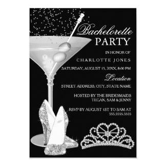 Silver Sparkle Cocktail Bachelorette Party Card