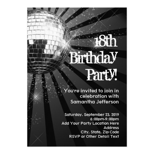 Silver Sparkle Disco Ball 18th Birthday Party Personalized Invites
