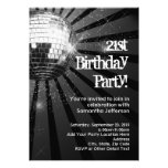Silver Sparkle Disco Ball 21st Birthday Party Announcements