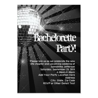 """Silver Sparkle Disco Ball Bachelorette Party 5"""" X 7"""" Invitation Card"""