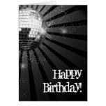 Silver Sparkle Disco Ball Happy Birthday Greeting Stationery Note Card