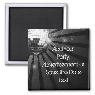Silver Sparkle Disco Ball Party 2 Inch Square Magnet