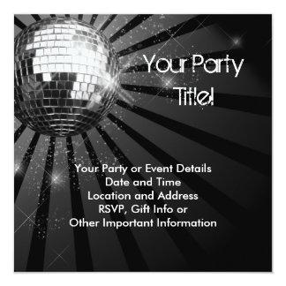 """Silver Sparkle Disco Ball Party 5.25"""" Square Invitation Card"""