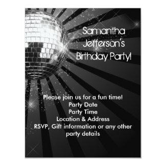 Silver Sparkle Disco Ball Party Custom Invite
