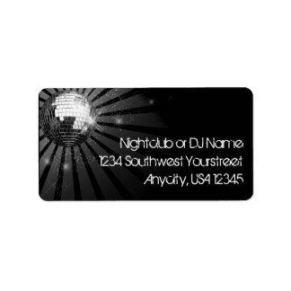 Silver Sparkle Disco Ball Party Label