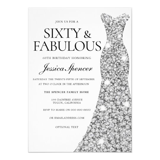Silver Sparkle Dress 60 Fabulous 60th Birthday Invitation