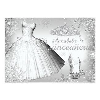 Silver Sparkle Dress & Tiara Quinceanera Invite