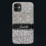 "Silver Sparkle Glam Bling Personalized Metal iPhone 11 Case<br><div class=""desc"">This design was created though digital art. It may be personalized in the area provide or customizing by choosing the click to customize further option and changing the name, initials or words. You may also change the text color and style or delete the text for an image only design. Contact...</div>"