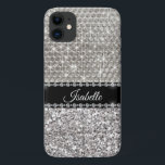 "Silver Sparkle Glam Bling Personalized Metal iPhone 11 Case<br><div class=""desc"">This design was created though digital art.No actual glitter is used to make this case. It may be personalized in the area provide or customizing by choosing the click to customize further option and changing the name, initials or words. You may also change the text color and style or delete...</div>"