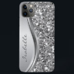 "Silver Sparkle Glam Bling Personalized Metal iPhone 11 Pro Max Case<br><div class=""desc"">This design was created though digital art. It may be personalized in the area provide or customizing by choosing the click to customize further option and changing the name, initials or words. You may also change the text color and style or delete the text for an image only design. Contact...</div>"