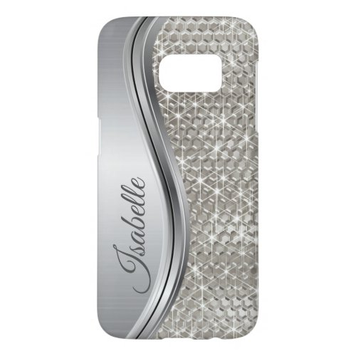 Silver Sparkle Glam Bling Personalized Metal Phone Case