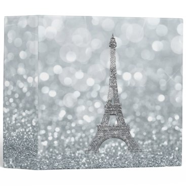 Wedding Themed Silver Sparkle Glitter Eiffel Tower Paris Glam 3 Ring Binder
