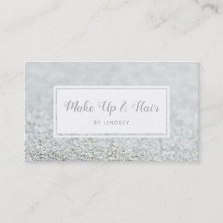 Silver Sparkle Glitter Hair Make Up Artist Business Card