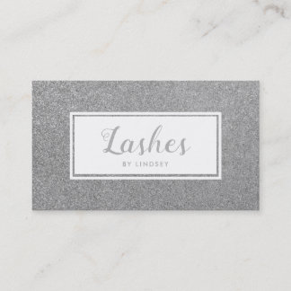 Silver Sparkle Glitter Lashes Make Up Artist Business Card