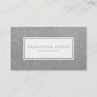 Silver Sparkle Glitter Make Up Artist Business Card