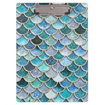 Beach Themed Silver Sparkle Glitter Mermaid Scales Clipboard
