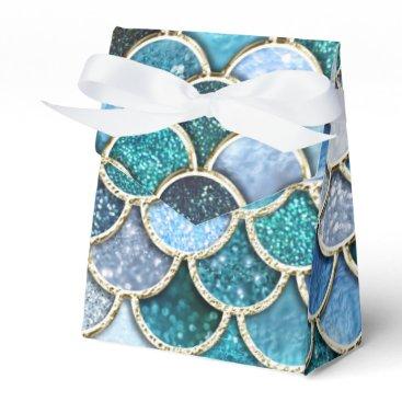 Beach Themed Silver Sparkle Glitter Mermaid Scales Favor Box